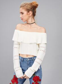 Eyelet Sleeve Mixed Knit Frill Bardot Jumper