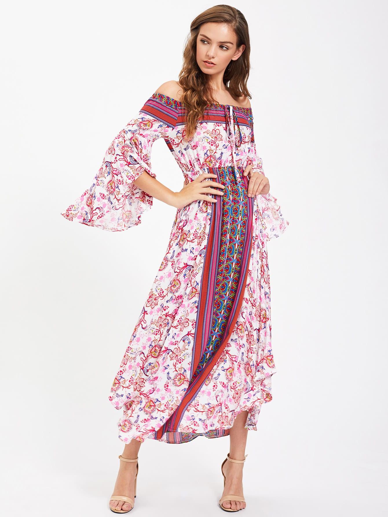 Фото Tie Neck Fluted Sleeve Bardot Dress. Купить с доставкой