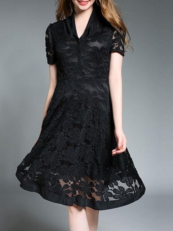Фото V Neck Sheer Lace Dress. Купить с доставкой