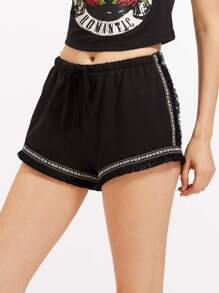 Embroidery Tape And Fringe Detail Shorts