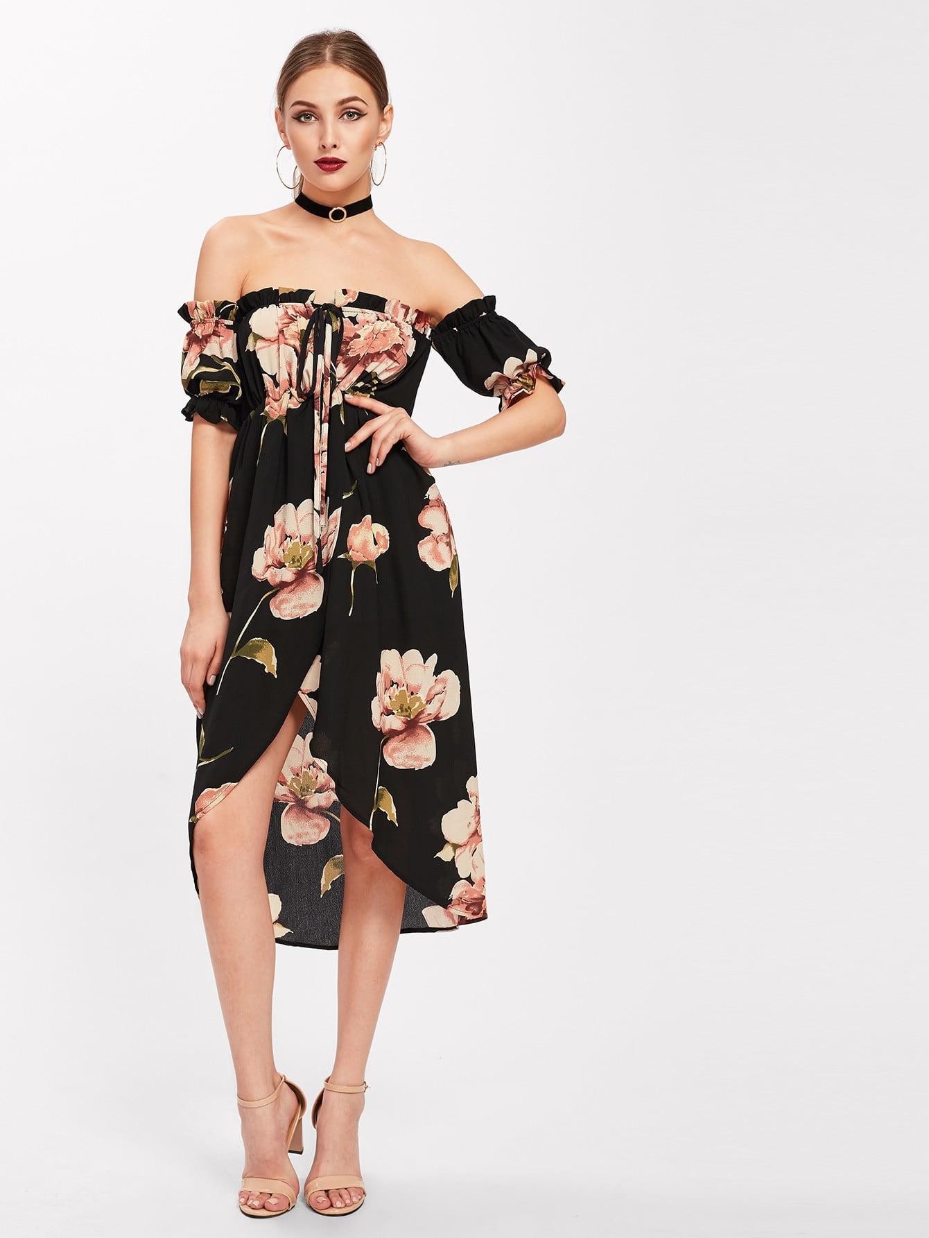 Фото Bardot Tie Neck Frill Trim Tulip Hem Dress. Купить с доставкой