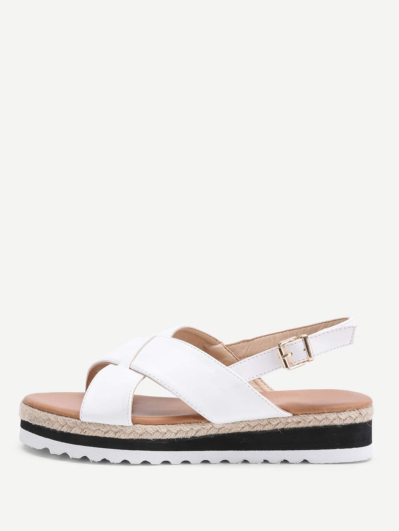 Image of Criss Cross Flatform PU Sandals