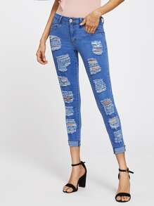 Shredded Rips Detail Jeans