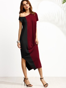 Two Tone Oblique Shoulder Split Dress