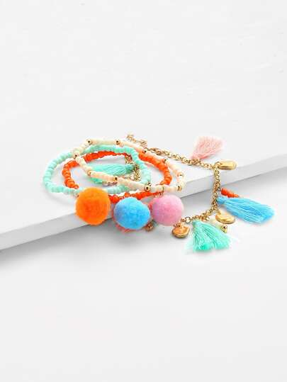 Bead & Chain Bracelet Set With Tassel