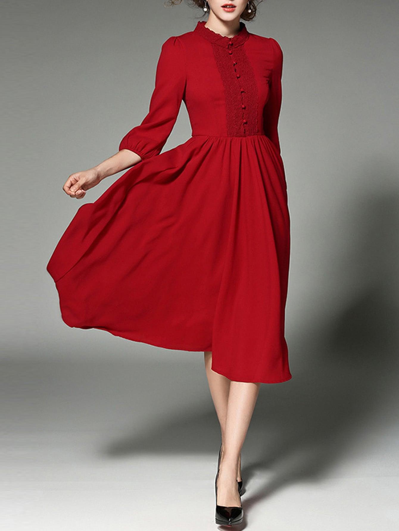 Фото Lace Paneled Button Front Shirt Dress. Купить с доставкой