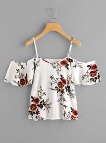 Random Florals Cold Shoulder Top