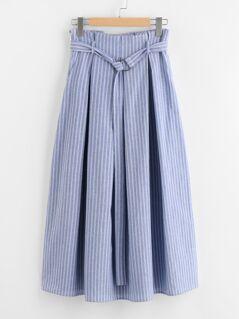 D-Ring Belt Detail Box Pleated Pinstripe Skirt