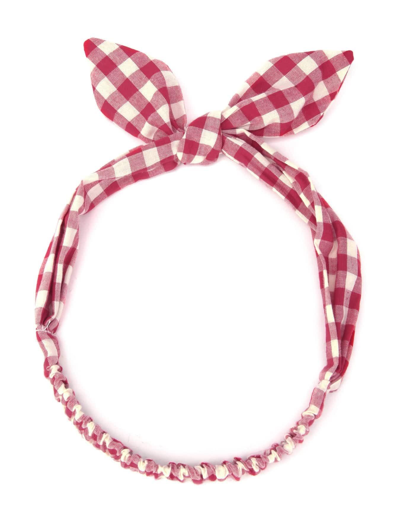 Фото Gingham Print Cute Ear Headband. Купить с доставкой