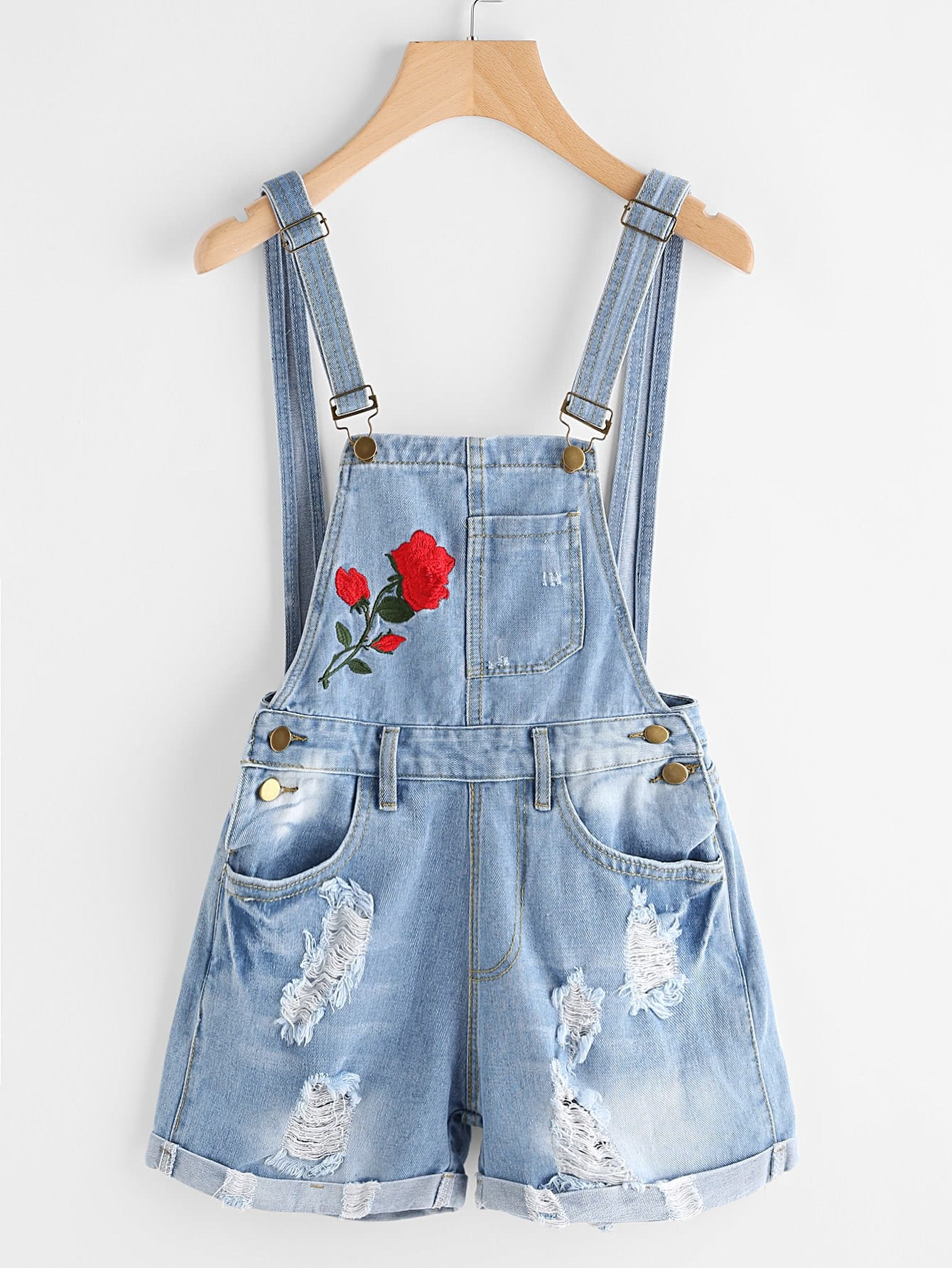 Rose embroidered destroyed denim dungaree shorts shein