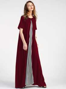 Contrast Striped Panel Full Length Dress