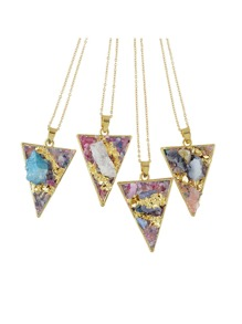 Random Color Colorful Acrylic Stone Triangle Pendant Necklaces