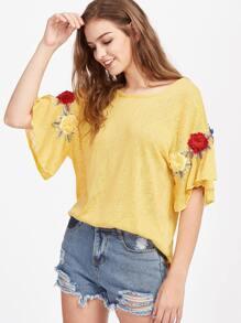 T-Shirt mit 3D Blumen Flicken und Band hinten