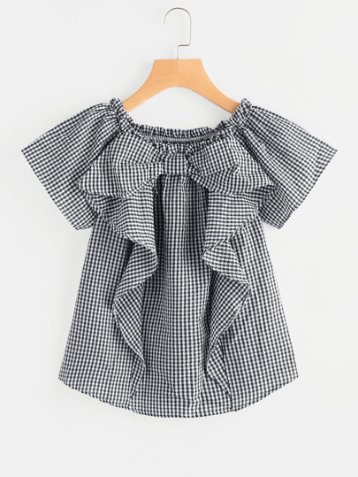 Frill Trim Gingham Blouse