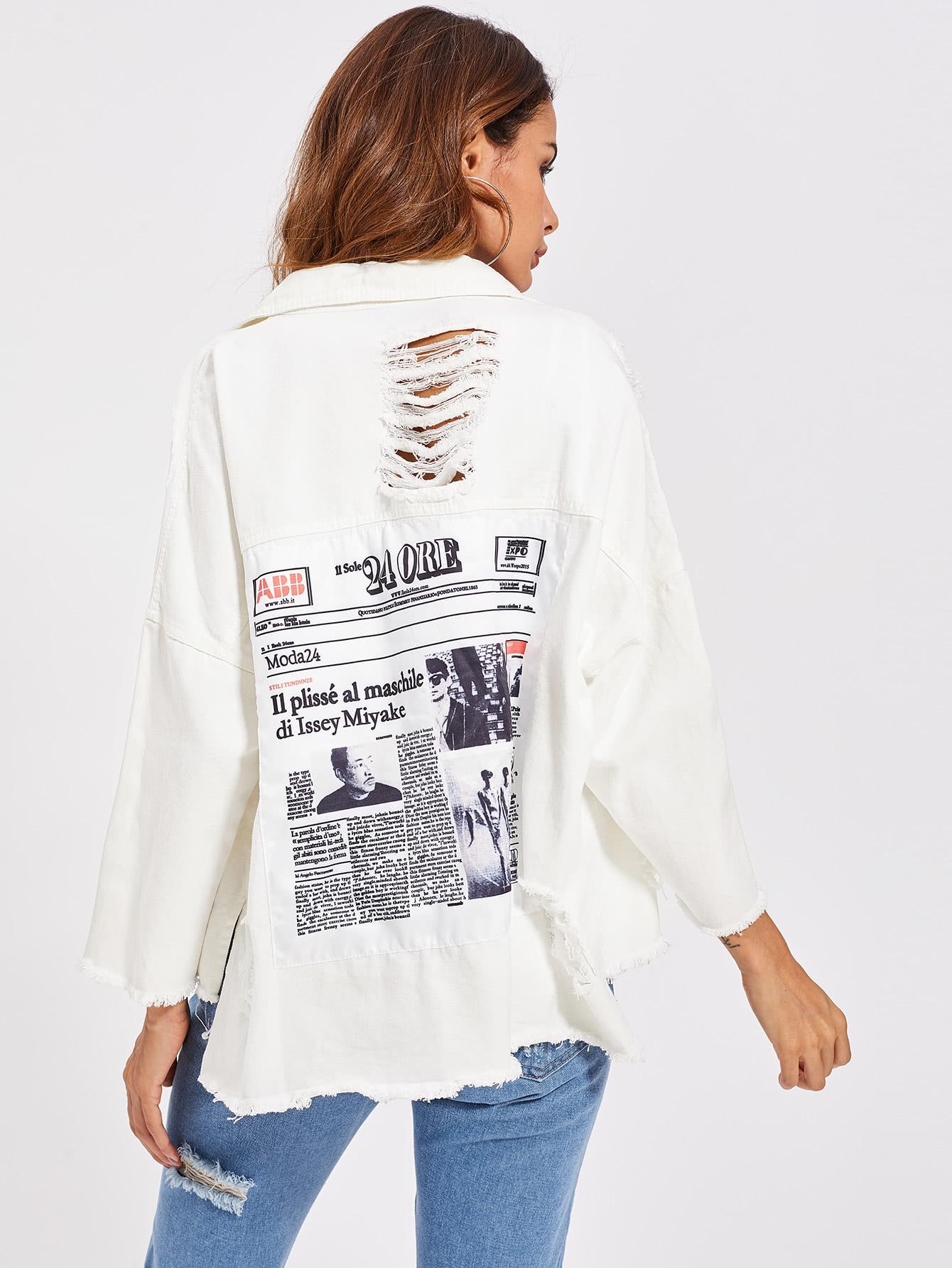 Drop Shoulder Patch Back Distressed Jacket jacket170725101