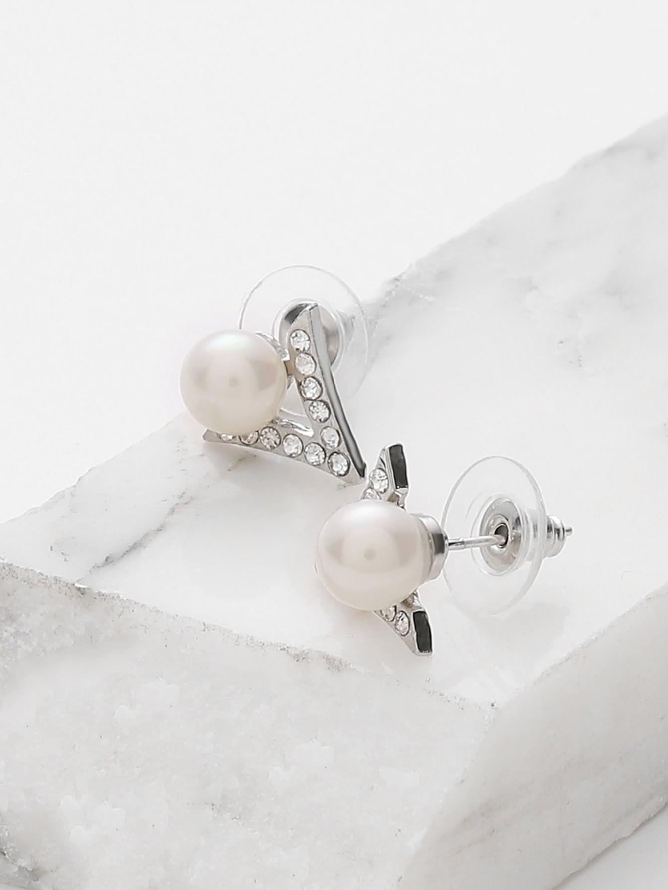 Фото Faux Pearl Detail Geometric Stud Earrings. Купить с доставкой