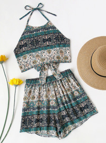 Allover Printed Knot Open Back Top And Shorts Set