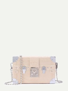 Studded Detail Snakeskin Pattern PU Box Bag