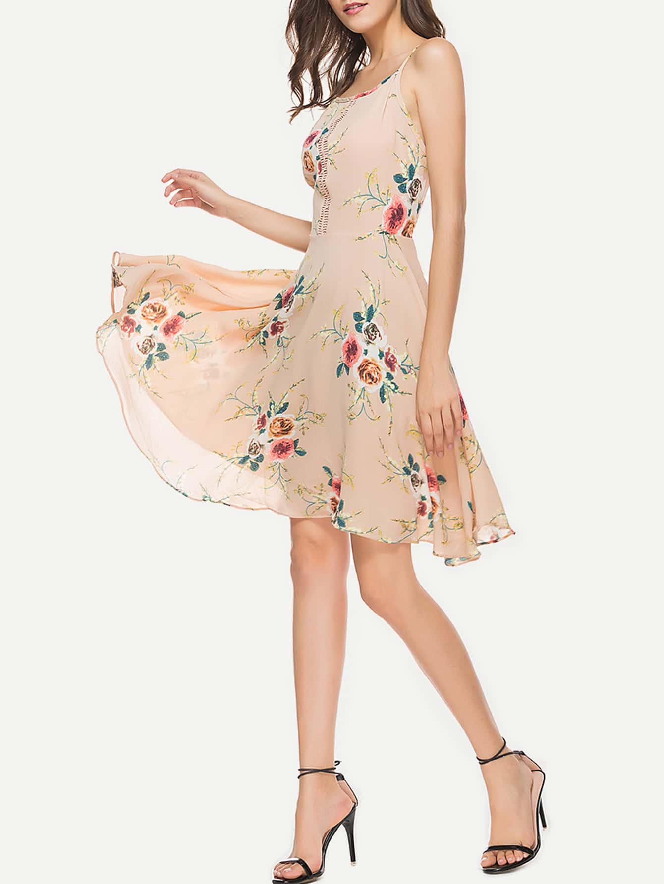 Фото Random Florals Hollow Lace Panel Swing Dress. Купить с доставкой