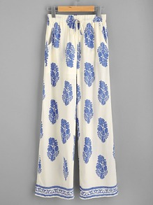 Allover Print Wide Leg Pants