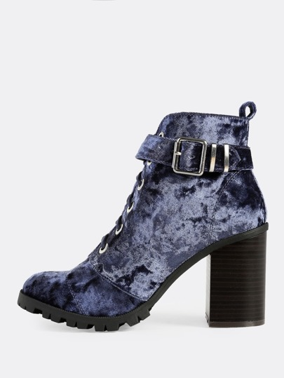 Crushed Velvet Lace Up Buckle Textured Sole Booties DARK BLUE