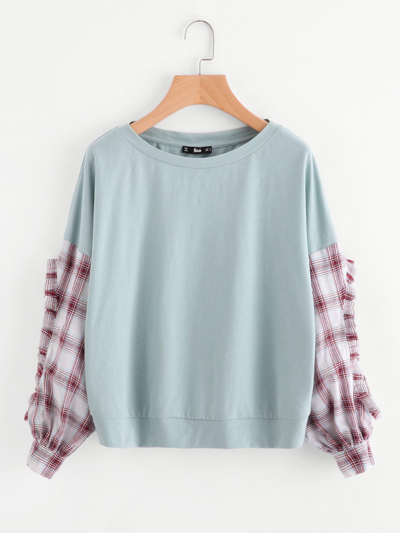 Frilled Checkered Sleeve Mixed Media Sweatshirt drop shoulder frilled sleeve sweatshirt