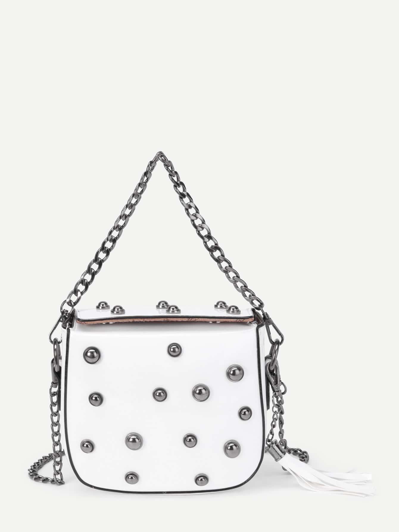 Фото Tassel Detail Magnetic Button PU Bag. Купить с доставкой