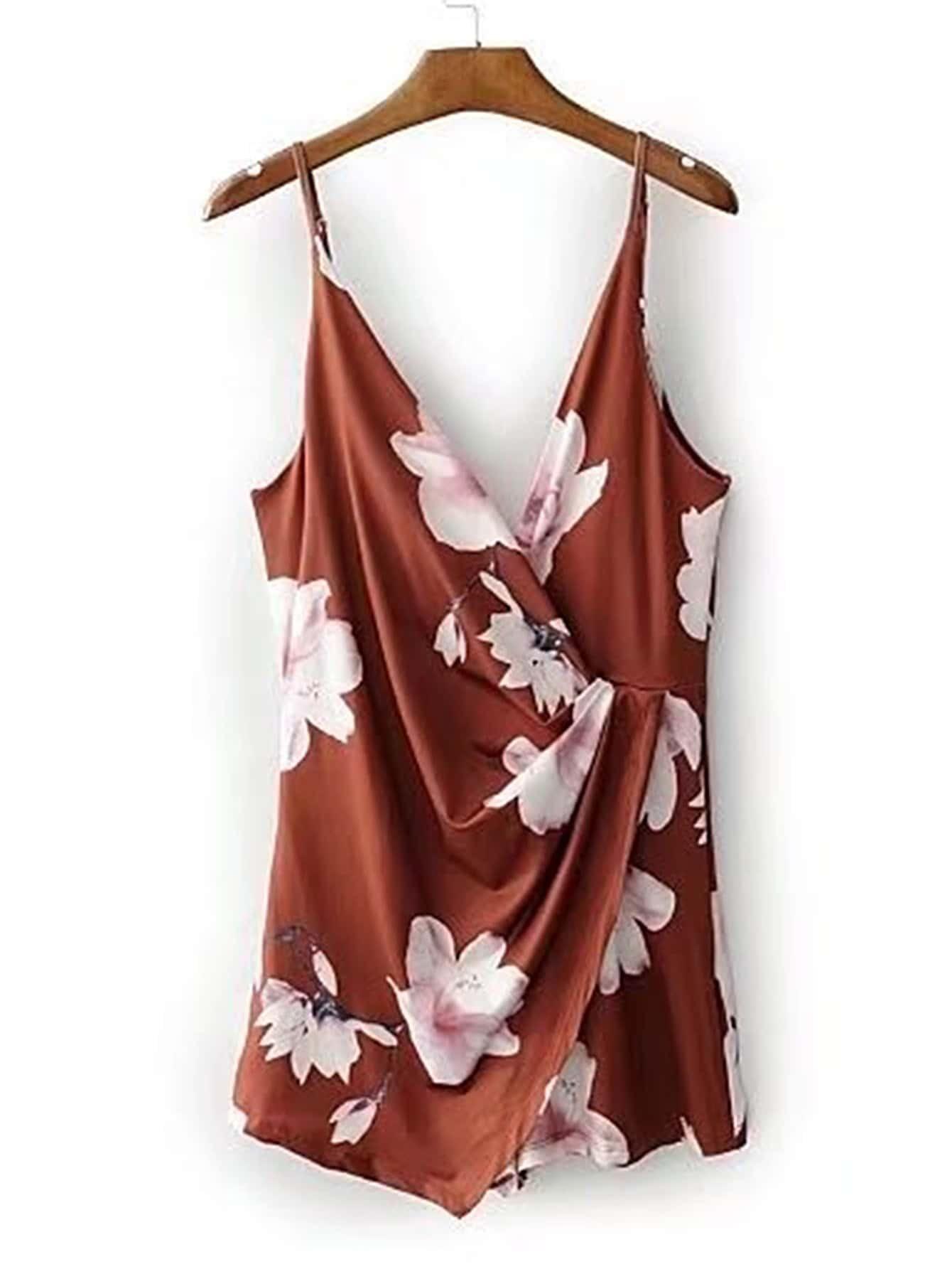 Фото V Back Floral Print Cami Playsuit. Купить с доставкой