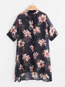 Allover Florals Chiffon Shirt Dress