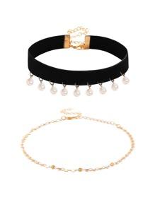 Faux Pearl Embellished Choker & Chain Choker