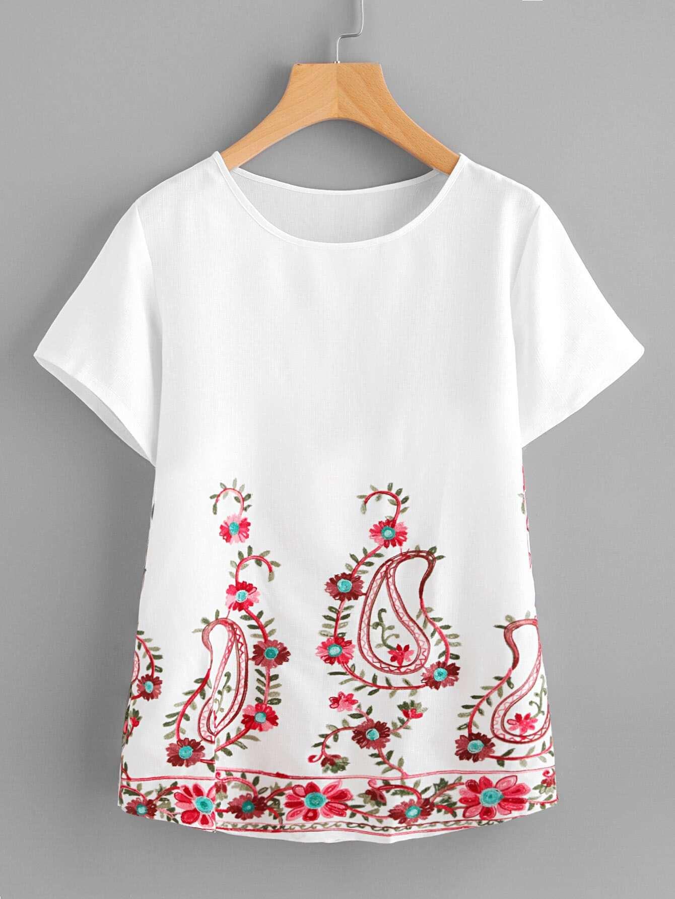 Фото Paisley Embroidery Short Sleeve Top. Купить с доставкой