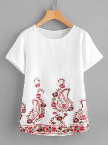 Paisley Embroidery Short Sleeve Top