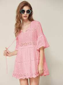 Tie Neck Fluted Sleeve Eyelet Embroidered Smock Dress