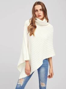 Rib Knit Asymmetric Poncho Jumper
