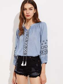 Aztec Embroidery Tassel Tie Blouse