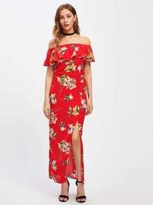 Florals Flounce Layered Neckline Split Dress