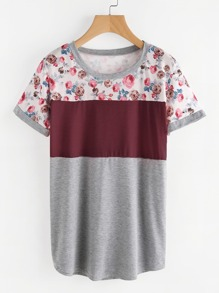 Contrast Panel Florals Marled Tee