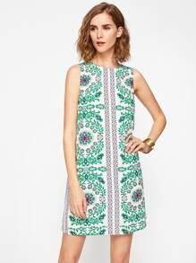Buttoned Keyhole Back Vine Flower Print Dress