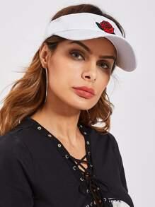 Rose Embroidery Bow Back Visor Hat