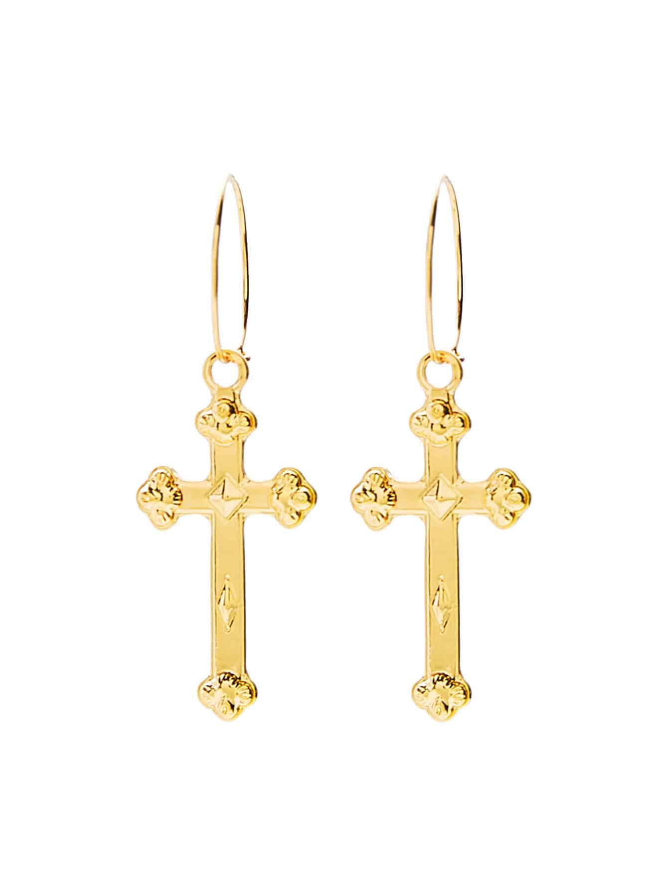 Metal Cross Drop Earrings two tone metal drop earrings
