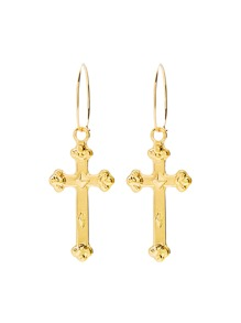 Metal Cross Drop Earrings