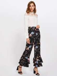 Tiered Ruffle Hem Botanical Pants pictures