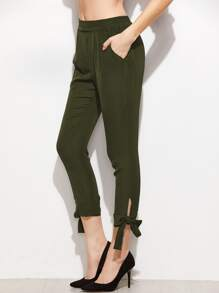 Bow Tie Hem Crop Pants