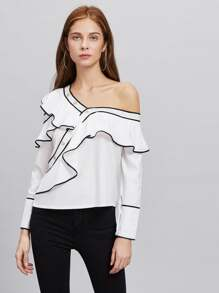Contrast Trim Asymmetric Cold Shoulder Exaggerated Frill Blouse