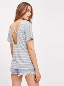 Criss Cross Open Back Striped Tee