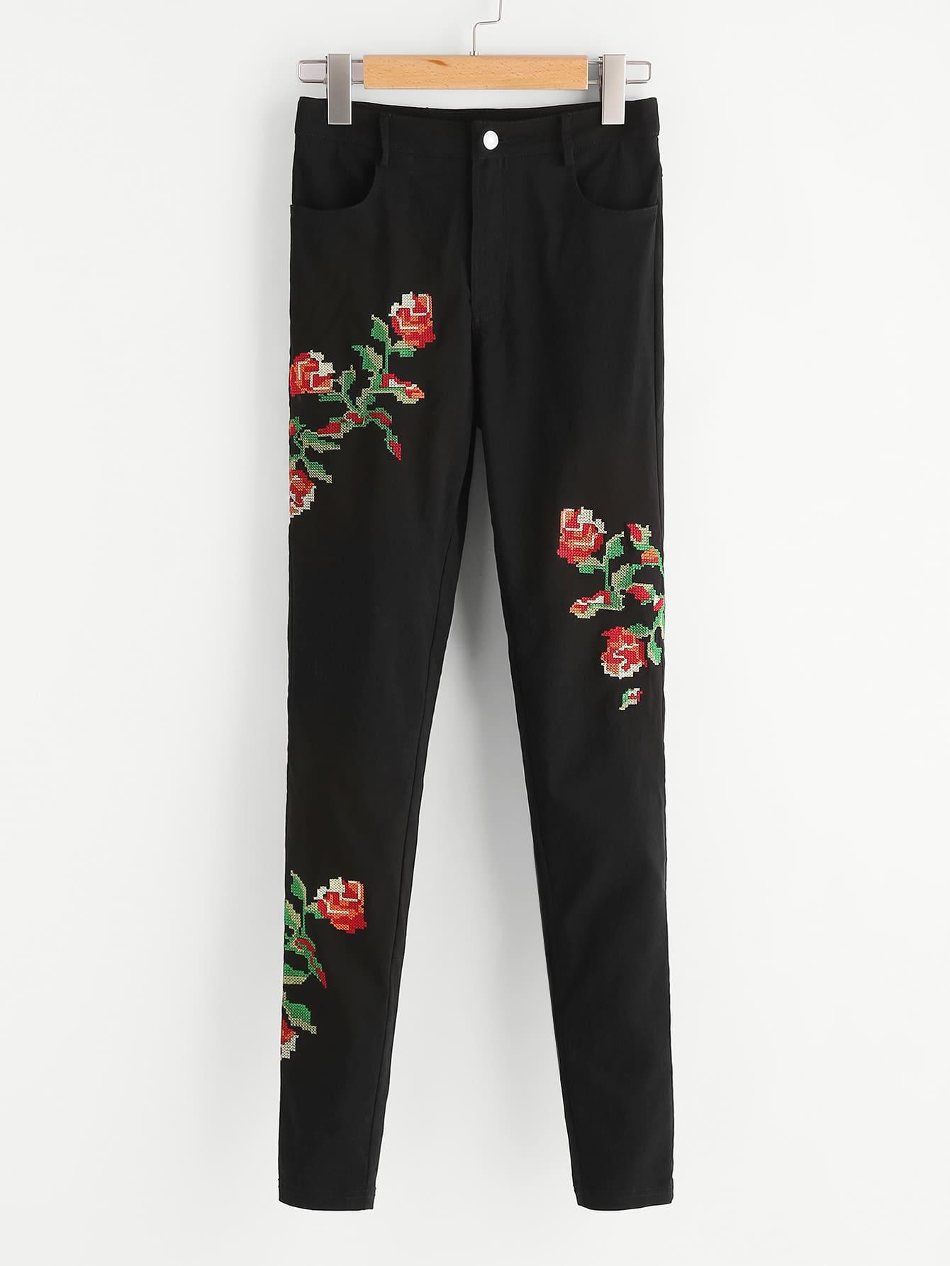 Фото Flower Cross Stitch Embroidery Pants. Купить с доставкой