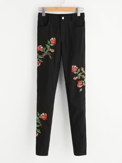 Flower Cross Stitch Embroidery Pants