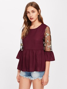 Contrast Embroidery Mesh Sleeve Smock Top