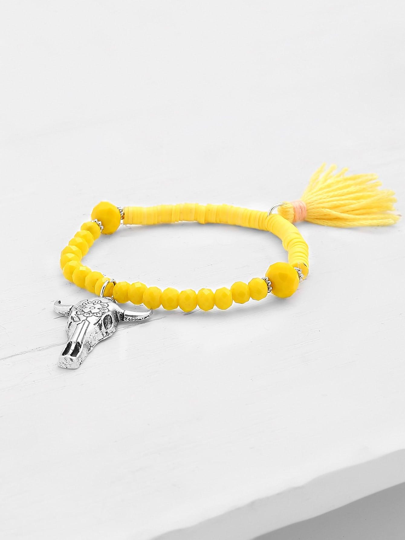 Фото Metal Bull Head & Tassel Detail Beaded Bracelet. Купить с доставкой