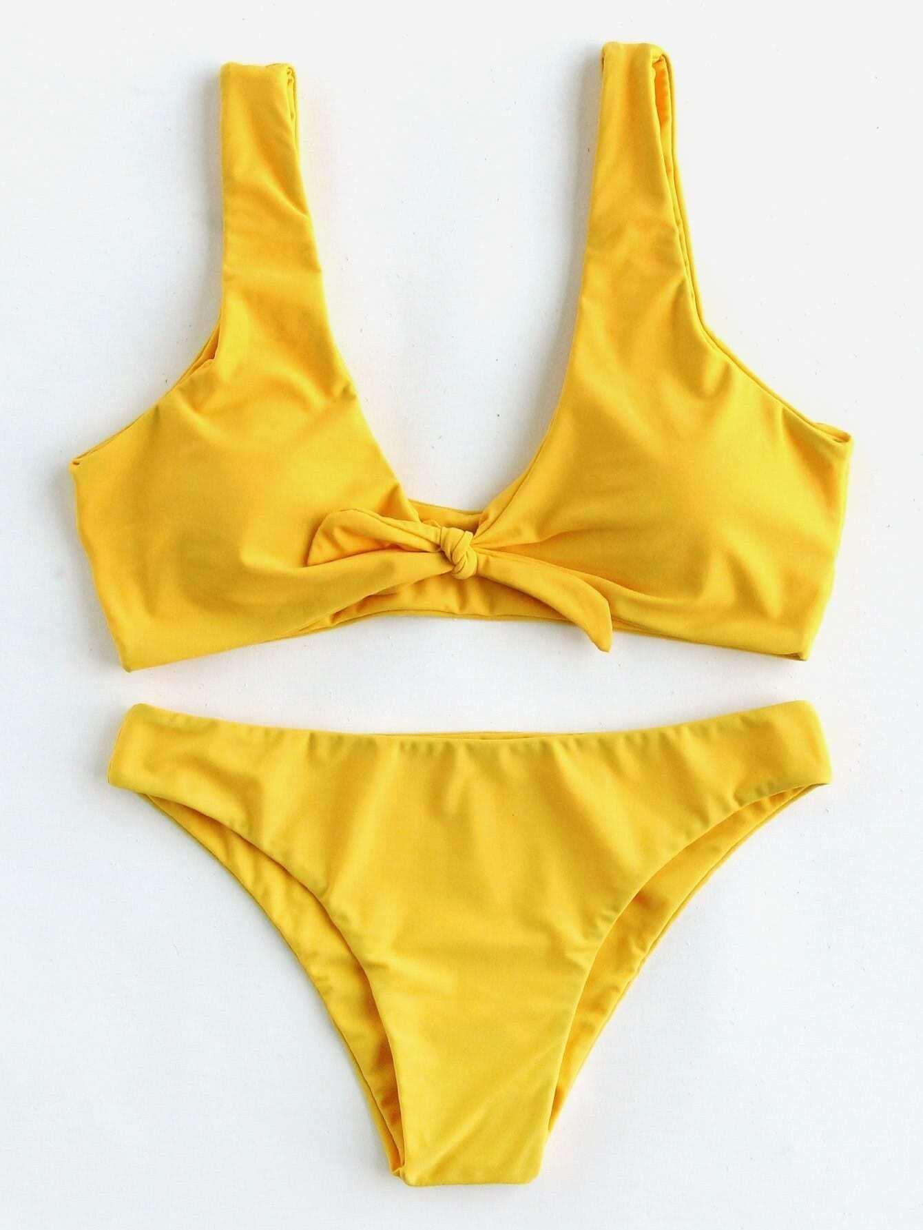 Bow Tie Front Plunge Neckline Bikini Set plunge neckline open back bikini set
